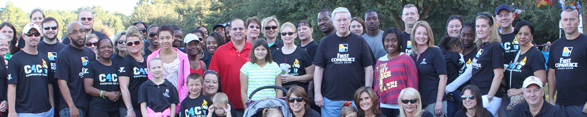 First Commerce Team Members outside with members out the Tallahassee community supporting C4C